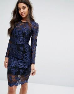 Платье с длинными рукавами и контрастной подкладкой Lipsy - Темно-синий