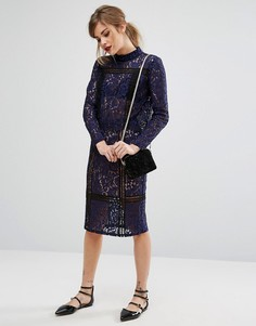 Кружевная юбка карандаш из комплекта Fashion Union - Темно-синий