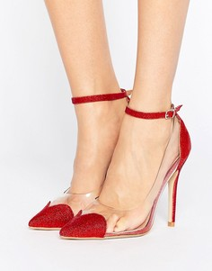 Красные блестящие туфли-лодочки Public Desire Malia Heart Clear - Красный