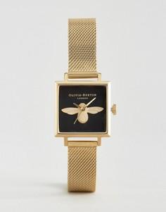 Часы с квадратным циферблатом и пчелой Olivia Burton - Золотой