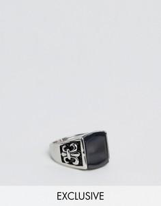 Кольцо с черным камнем Reclaimed Vintage - Серебряный