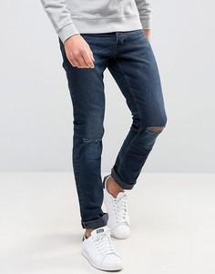 Выбеленные сине-черные узкие рваные джинсы New Look - Синий