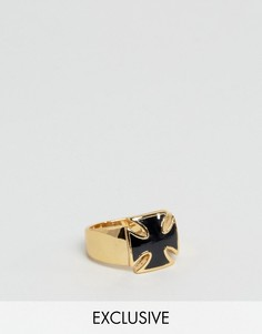 Кольцо с черным камнем в виде креста Reclaimed Vintage - Золотой