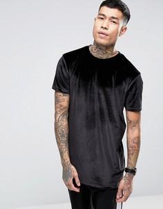 Черная бархатная длинная футболка ASOS - Черный