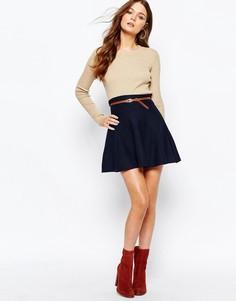 Короткая расклешенная юбка с поясом New Look - Темно-синий
