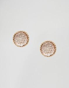 Серьги-гвоздики с камнем DesignB - Золотой