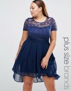 Платье с кружевным топом и асимметричным подолом Praslin Plus - Темно-синий