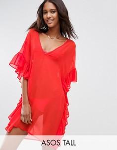 Пляжная накидка с оборкой ASOS TALL - Оранжевый