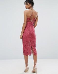 Кружевное платье миди с бретелями на спине ASOS - Розовый