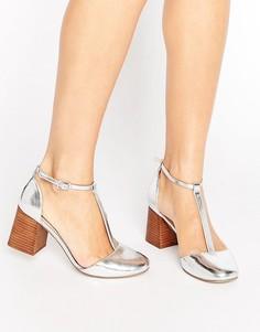 Туфли на каблуке с Т-образным ремешком ASOS ONE WISH - Серебряный