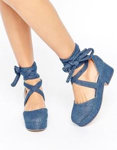 Туфли на массивной подошве с завязкой ASOS OBLIVIAN - Синий
