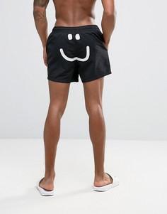 Короткие шорты для плавания с принтом ASOS - Черный