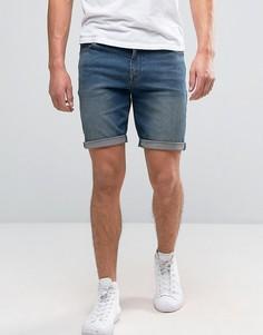Винтажные джинсовые шорты скинни из ткани плотностью 12,5 унций ASOS - Синий