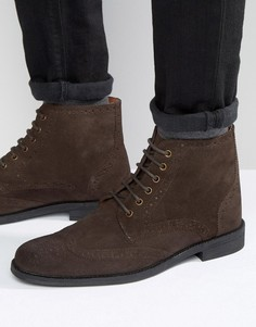 Коричневые замшевые ботинки-броги Lambretta - Коричневый