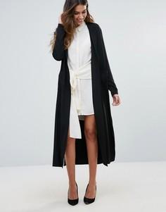 Пальто без подкладки с поясом сзади и разрезами по бокам Unique 21 - Черный