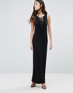 Платье макси со шнуровкой спереди First & I - Черный