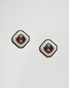 Квадратные серьги-гвоздики с камнем Nylon - Золотой