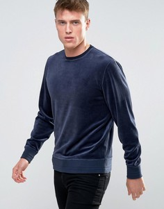 Велюровый хлопковый свитшот Esprit - Темно-синий