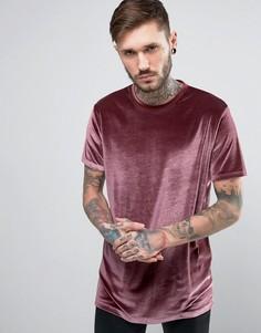 Розовая бархатная длинная футболка ASOS - Розовый
