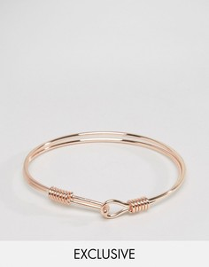 Металлический браслет цвета розового золота с крючком DesignB - Золотой