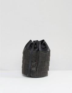 Присборенная сумка на плечо с отделкой бисером Gracie Roberts - Черный
