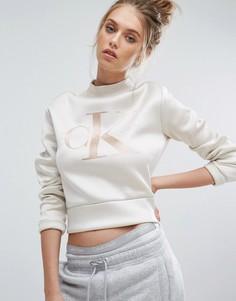 Свитшот из неопрена с высоким воротом Calvin Klein Jeans - Белый