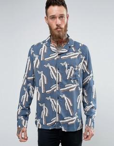 Рубашка с отложным воротником и принтом Brooklyn Supply Co - Темно-синий