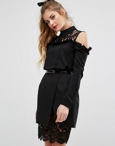 Рубашка с кружевной вставкой и воротником Fashion Union - Черный