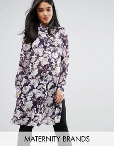 Тканая рубашка с длинными рукавами и цветочным принтом Mamalicious - Мульти Mama.Licious