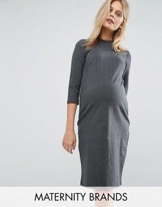 Платье в полоску с высокой горловиной Mamalicious - Серый Mama.Licious