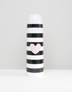 Черная фляжка-термос в полоску Miss Etoile - Мульти