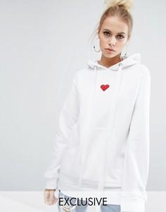 Oversize-худи бойфренда с вышитым сердечком Adolescent Clothing Valentines - Белый