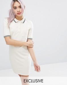 Платье с контрастным воротником поло Monki - Белый