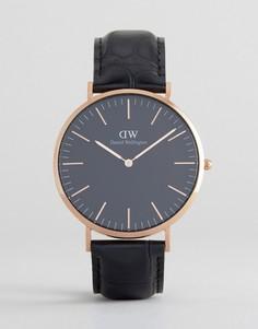 Золотисто-розовые классические часы на кожаном ремешке Daniel Wellington - 40 мм - Черный