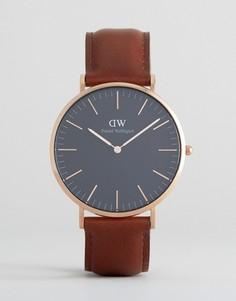 Часы с черным кожаным ремешком и золотистым циферблатом Daniel Wellington St Mawes - 40 мм - Коричневый