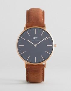 Классические часы с кожаным ремешком и золотисто-розовым циферблатом диаметром 40 мм Daniel Wellington Durham - Рыжий