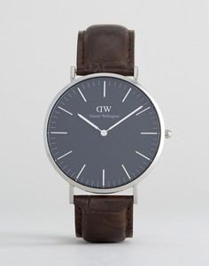 Классические часы с кожаным ремешком и серебристым циферблатом диаметром 40 мм Daniel Wellington York - Коричневый
