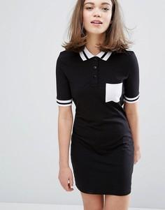 Платье с контрастным воротником поло Monki - Черный