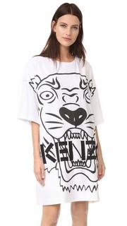 Атласное платье Tiger со вставкой из крепа на спине Kenzo