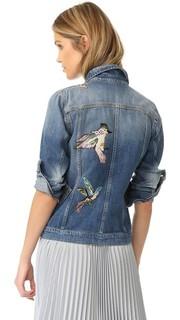 Пиджак из денима с вышитыми птицами RED Valentino