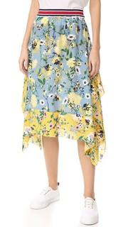Миди-юбка с цветочным принтом в лоскутной технике Hilfiger Collection