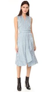 Платье в полоску с перекрещенной отделкой Carven