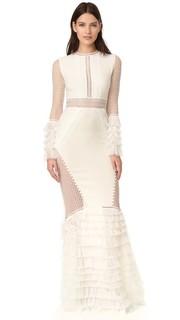 Вечернее платье с кружевной многоуровневой с оборками Jonathan Simkhai