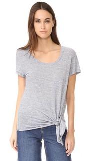 Льняная футболка с завязками спереди Three Dots