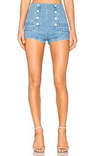 Military high waist denim short - Pierre Balmain