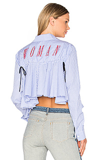 Back ruffle striped shirt - OFF-WHITE