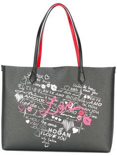 сумка-тоут с принтом сердца Hogan