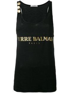 топ с принтом логотипа Pierre Balmain