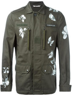 куртка в стиле милитари с принтом бабочек Valentino