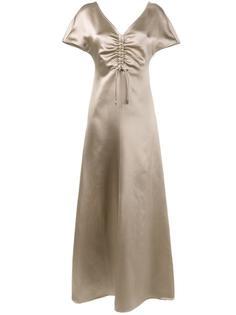 длинное платье с присборенной отделкой Barbara Casasola